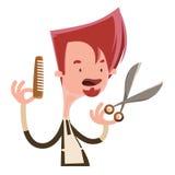 Hair stylist holding scissors  illustration cartoon character Stock Photos