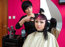 Hair stylist making cool haircut Royalty Free Stock Photography