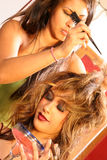 Hair Stylist on Set Stock Photography