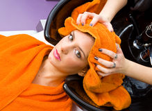 Hair stylist washing woman head Royalty Free Stock Images
