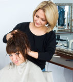 Hair stylist in work Royalty Free Stock Image