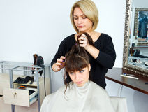 Hair stylist in work Royalty Free Stock Photos