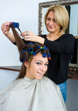 Hair stylist in work Royalty Free Stock Photography