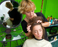 Hair stylist at work Royalty Free Stock Image