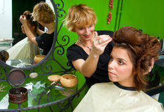 Hair stylist at work Stock Photo