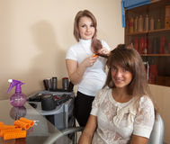 Hair stylist working with long-haired girl Stock Photo