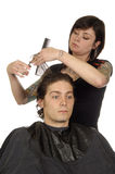 Hair Stylist and Young Man Royalty Free Stock Photography