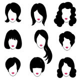 Hair styly set. Woman profiles. Girl silhouettes collection. Fem. Ale beauty icons Royalty Free Stock Images