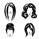 Hair styly set. Woman profiles. Girl silhouettes collection. Fem. Hair styly icon set. Woman profiles. Girl silhouettes collection Royalty Free Stock Image