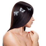 Hair tattoo. Young woman with hair painted tattoo royalty free stock photography