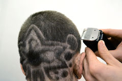 Hair tattoo hairstyle Royalty Free Stock Image