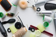 Hair brushes, styling sprays, curlers and pins Royalty Free Stock Image