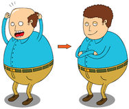 After hair treatment. Illustration of a fat man before and after doing a hair treatment Stock Photo
