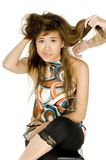 Hair Trouble. A young asian woman has her troublesome hair cut stock photo