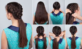 Hair tutorial. Braid hairstyle tutorial for long hair royalty free stock photos