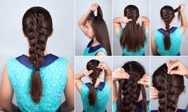 Hair tutorial. Braid hairstyle tutorial royalty free stock images