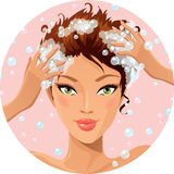 Hair wash. Beautiful girl washing her hair stock illustration
