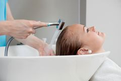 Hair Wash At Beauty Salon Royalty Free Stock Photo