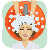 Hair washing at hairdressing salon, young girl Stock Images
