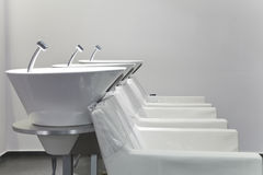 Hair washing sink and chair Stock Photo