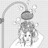 Hair washing Royalty Free Stock Photography