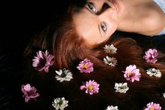 Hair white flowers Stock Photography