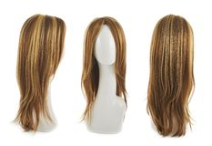 Hair wig over the mannequin head. Open wave hair wig over the white plastic mannequin head isolated over the white background, set of three foreshortenings Royalty Free Stock Photo