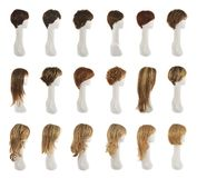 Hair wig over the mannequin head set Royalty Free Stock Images