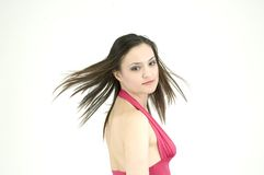 Hair in the wind. Fresh looking teenager with her hair in the wind royalty free stock photography