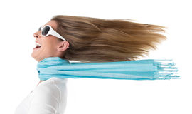Hair in the wind. Isolated woman - spring fever Stock Photos