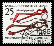Hair-wire Pliers (17th century), Medical History Collection, Karl Sudhoff Institute, Leipzig serie, circa 1981. MOSCOW, RUSSIA - SEPTEMBER 15, 2018: A stamp stock image