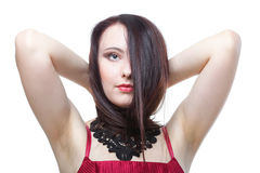 Hair woman in red corset white isolated Royalty Free Stock Photos