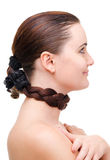 Hair wrapped neck Royalty Free Stock Images