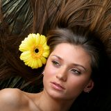 Hair yellow flowers Royalty Free Stock Image