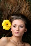 Hair yellow flowers Royalty Free Stock Photography