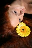 Hair yellow flowers Stock Images