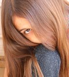 Hair on Young Girl Brushed Softly royalty free stock photos