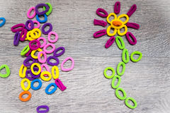 Hairbands hair elastic bands - flower. Set of colorful elastic hair bands -  shape of a flower, love you, nature Royalty Free Stock Photos