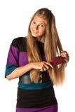 hairbrush девушки Стоковые Фото