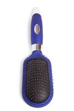 Hairbrush. Blue hairbrush isolated on white stock image