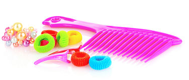 Hairbrush, barrette and Scrunchy isolated Royalty Free Stock Photos