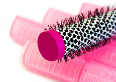 Hairbrush and curlers Royalty Free Stock Photos