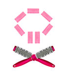 Hairbrush and curlers Royalty Free Stock Photography