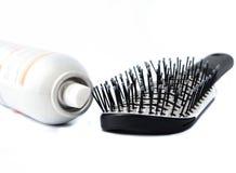 Hairbrush e lacca fotografia stock libera da diritti
