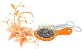 Hairbrush, forbici e mazzo dei gigli illustrazione vettoriale
