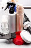 Hairbrush and hair balms Stock Photo