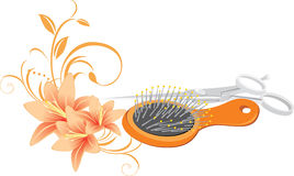 Hairbrush, scissors and bouquet of lilies Royalty Free Stock Photography
