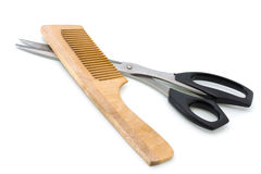 hairbrush scissors drewnianego Fotografia Royalty Free