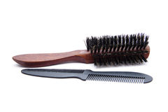 Hairbrush with wooden handle and neck. On white background Royalty Free Stock Photos