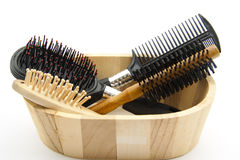 Hairbrushes in wooden box Stock Image